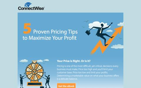 Screenshot of Landing Page connectwise.com - ConnectWise | 5 Proven Pricing Tips to Maximize Your Profit - captured Dec. 9, 2015