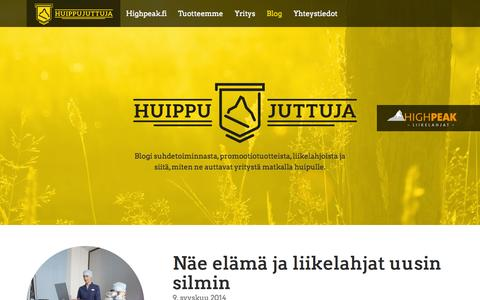 Screenshot of Blog highpeak.fi - Huippujuttuja   Blogi suhdetoiminnasta ja liikelahjoista - captured Oct. 3, 2014