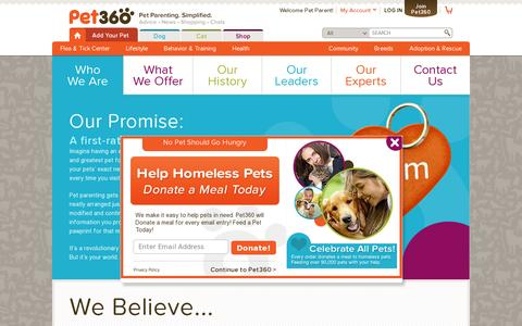 Screenshot of About Page pet360.com - Who We Are: About Pet360 - Pet360 Pet Parenting Simplified - captured July 19, 2014