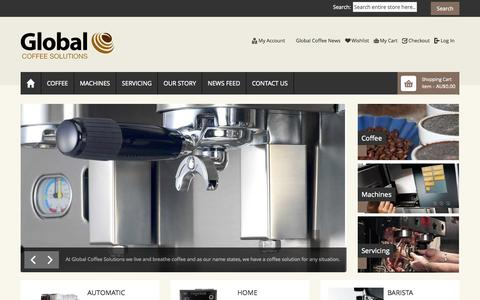 Screenshot of Home Page globalcoffee.com.au - Global Coffee Solutions Home page - captured Oct. 2, 2014