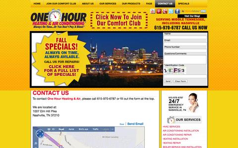 Screenshot of Contact Page onehourairnashville.com - Contact One Hour Heating & Air Conditioning | Central Tennessee - captured Oct. 6, 2014
