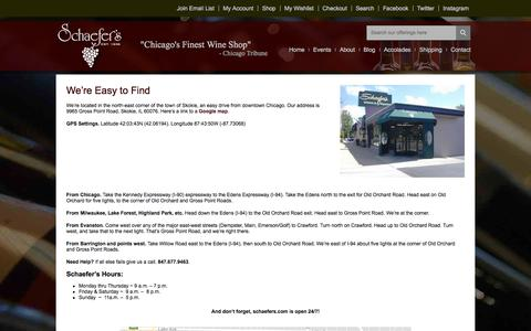 Screenshot of Maps & Directions Page schaefers.com - How to get to Schaefer's Wines - Chicago's North Shore Wine Shop - captured Oct. 5, 2017