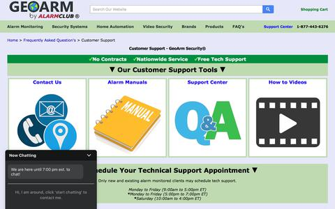 Screenshot of Support Page geoarm.com - Customer Support - GeoArm Security - captured Feb. 17, 2020