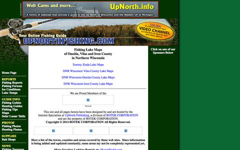 Screenshot of Maps & Directions Page upnorthfishing.com - Fishing Fishing Lake Maps of Oneida, Vilas and Iron County in Northern Wisconsin - captured Oct. 26, 2014