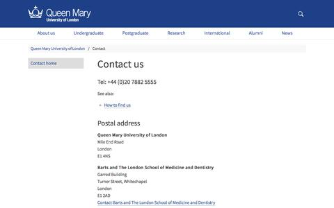 Screenshot of Contact Page qmul.ac.uk - Contact us - Queen Mary University of London - captured March 3, 2018