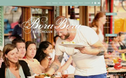 Screenshot of Home Page borabora.nl - Beachclub Bora Bora - Scheveningen - De strandtent voor feesten, partijen en recepties. - captured Oct. 12, 2015