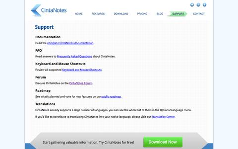 Screenshot of Support Page cintanotes.com - CintaNotes - Note Taking Software  |  Support - captured Nov. 4, 2014