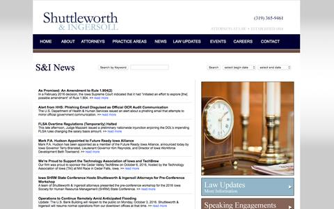 Screenshot of Press Page shuttleworthlaw.com - News - Shuttleworth & Ingersoll, P.L.C. a Cedar Rapids Iowa based law firm. - captured Dec. 3, 2016