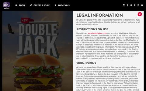 Screenshot of Terms Page jackinthebox.com - Jack In The Box - Homepage - captured March 30, 2016