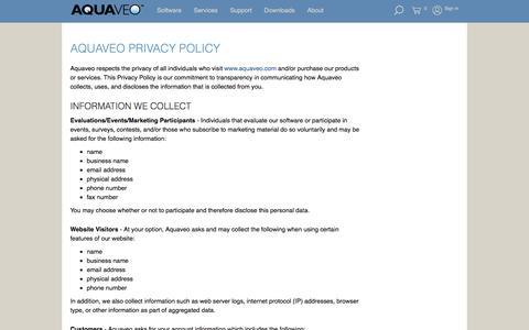 Screenshot of Privacy Page aquaveo.com - AQUAVEO PRIVACY POLICY | Aquaveo.com - captured July 30, 2018