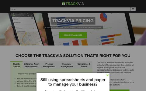 Screenshot of Pricing Page trackvia.com - TrackVia Pricing - Choose the Solution That's Right for You - captured Jan. 13, 2016