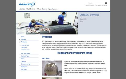 Screenshot of Products Page orbitalatk.com - Orbital ATK Space Systems, Inc. - Commerce - captured Jan. 28, 2018