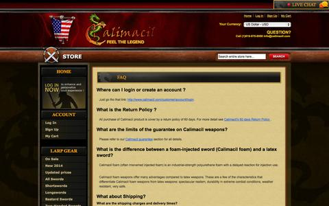 Screenshot of FAQ Page calimacil.com - FAQ - captured Oct. 29, 2014
