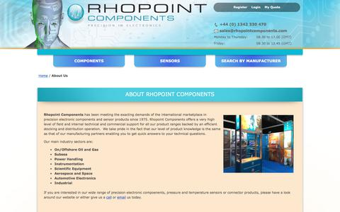 Screenshot of About Page rhopointcomponents.com - About Us - captured Oct. 22, 2017