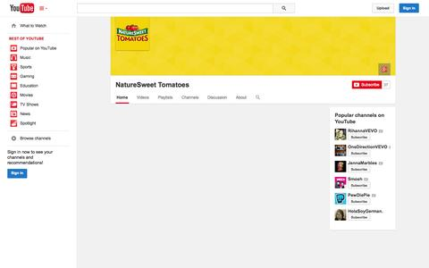 Screenshot of YouTube Page youtube.com - NatureSweet Tomatoes  - YouTube - captured Oct. 29, 2014