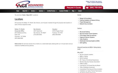 Screenshot of Locations Page acicabling.com - Structured Cabling Company - DFW, San Antonio & Houston Locations - captured Oct. 4, 2014