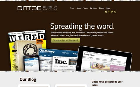 Screenshot of Home Page dittoepr.com - Public Relations Agency | Indianapolis, Indiana | Dittoe PR - captured Oct. 5, 2014
