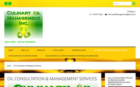 Screenshot of Services Page culinaryoilmanagement.com - Oil Consultation & Management Services | Culinary Oil Management Inc. - captured Oct. 28, 2014