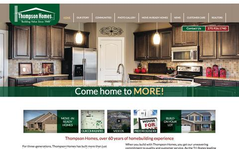 Screenshot of Home Page thompsonhomesinc.com - Owensboro, KY and Newburgh, IN and Evansville, IN New Homes - Thompson Homes - Thompson Homes Inc. - captured June 24, 2016