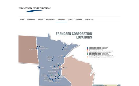 Screenshot of Locations Page frandsencorporation.com - Frandsen Corporation |   Locations - captured Aug. 21, 2018