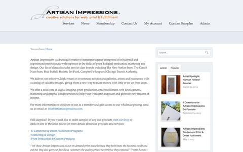 Screenshot of About Page artisanimpressions.com - E-commerce, Digital Imaging, Print Production, Fulfillment, Marketing, Design - captured Sept. 30, 2014