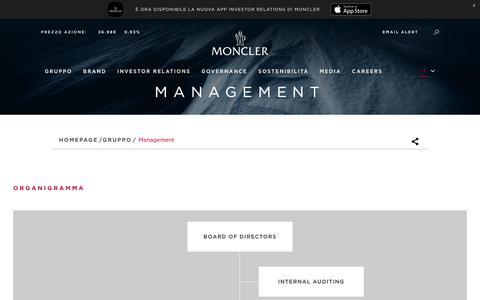Screenshot of Team Page monclergroup.com - Management - captured Aug. 6, 2018