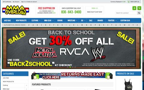Screenshot of Home Page mmaoverload.com - MMA Overload - MMA Clothing, Shirts, Gear, Shorts and more! - captured Aug. 2, 2015