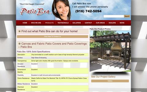 Screenshot of Products Page patiobra.com - Canvas and Fabric Patio Covers and Patio Coverings – Patio Bra - captured July 17, 2017