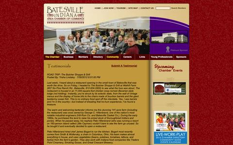 Screenshot of Testimonials Page batesvilleholidayhappenings.com - Batesville, IN Chamber of Commerce - captured March 30, 2016