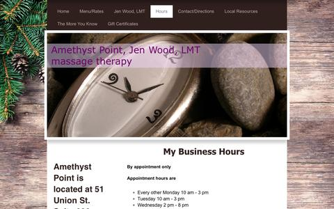 Screenshot of Hours Page amethystpoint.com - Amethyst Point - Hours - captured Dec. 9, 2018