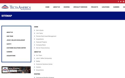 Screenshot of Site Map Page tectaamerica.com - Sitemap - Tecta America Commercial Roofing - captured Sept. 30, 2018