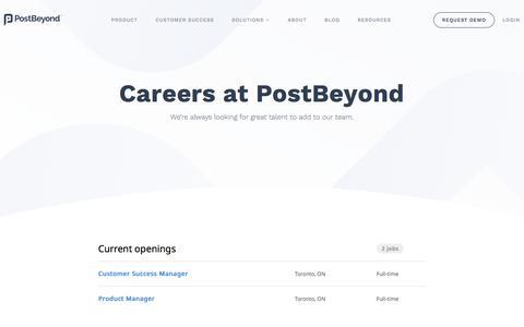 Screenshot of Jobs Page postbeyond.com - Careers at PostBeyond - captured April 18, 2018