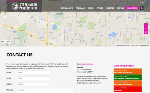 Screenshot of Contact Page streamwoodparkdistrict.org - SPD CARES | CONTACT US - captured Oct. 26, 2014