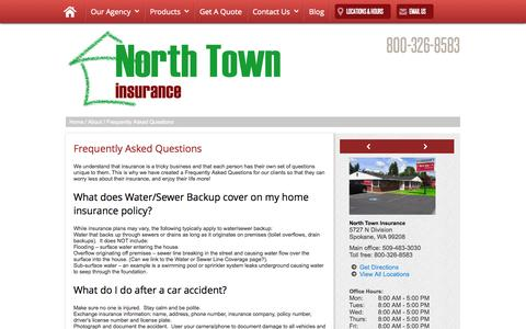 Screenshot of FAQ Page northtowninsurance.com - Frequently Asked Questions - captured Nov. 5, 2014