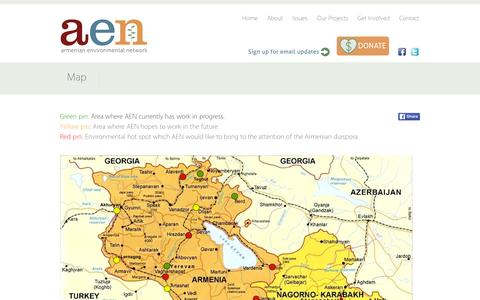 Screenshot of Maps & Directions Page armenia-environment.org - Map - aen - captured Feb. 6, 2016