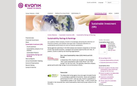 Sustainability Ratings and Rankings - Evonik Industries - Specialty Chemicals