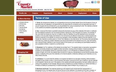 Screenshot of Terms Page petescountymarket.com - Pete's County Market :: Terms of Use - captured Sept. 29, 2014