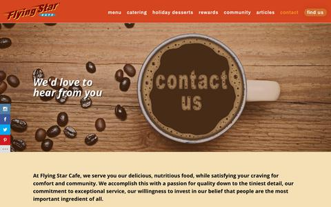 Screenshot of Contact Page flyingstarcafe.com - Contact - Flying Star Cafe - captured Dec. 10, 2018