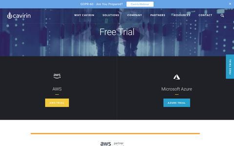 Screenshot of Trial Page cavirin.com - Free Trial - captured April 14, 2018