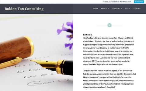 Screenshot of Testimonials Page wordpress.com - Testimonials – Bolden Tax Consulting - captured Dec. 18, 2018