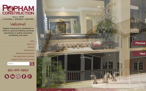 Screenshot of Home Page pophamconstruction.com - Construction, Remodeling, & Renovation | Evansville, Newburgh - captured Sept. 30, 2014