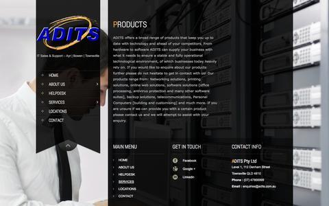Screenshot of Products Page adits.com.au - Products | ADITS - captured Oct. 27, 2014
