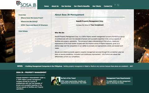 Screenshot of About Page sosajbmanagement.com - Property Management Philippines | About Sosa JB Property Management Corp. | SPMC | Home | Philippines - captured Oct. 6, 2014