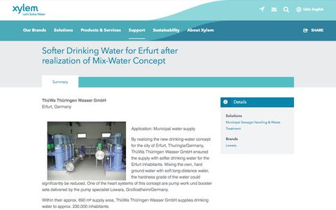 Screenshot of Case Studies Page xylem.com - Germany-Erfurt-Lowara-Softer Drinking Water for Erfurt after realization of Mix-Water Concept   Xylem US - captured Nov. 9, 2019
