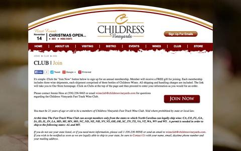 Screenshot of Signup Page childressvineyards.com - Childress Vineyards - Club Join - captured Oct. 28, 2014