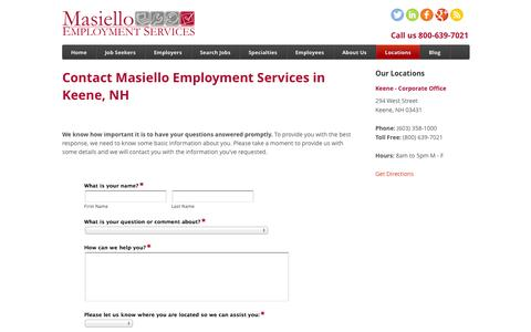 Screenshot of Contact Page Locations Page masemp.com - Keene Staffing Agencies - Brattleboro Staffing Agencies – Masiello Employment - captured Oct. 27, 2014