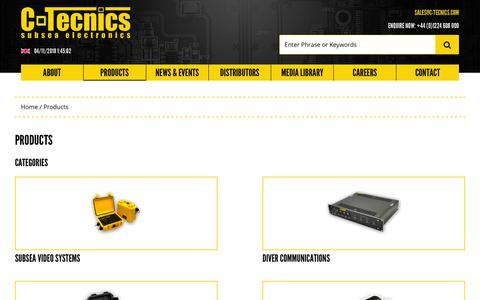 Screenshot of Products Page c-tecnics.com - Products – C-Tecnics – Subsea Electronics - captured Nov. 4, 2018