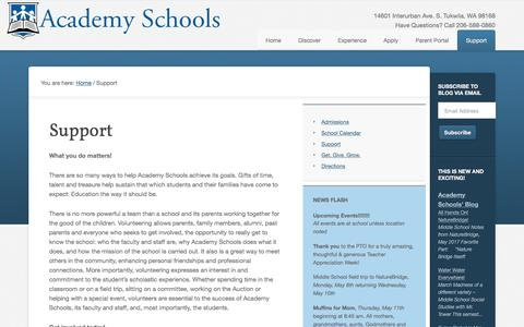 Screenshot of Support Page academyschools.org - Support - Academy Schools - captured May 29, 2017