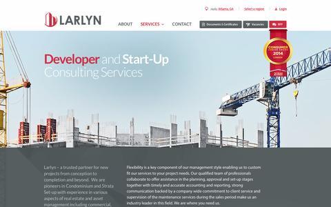 Screenshot of Developers Page larlyn.com - Developer - Larlyn Property Management Ltd. - captured Oct. 2, 2014