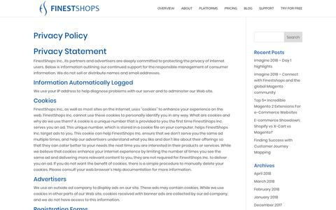 Screenshot of About Page Privacy Page finestshops.com - Privacy Policy - FinestShops - E-commerce optimization and management for Magento, X-Cart and WooCommerce Shopping Carts - captured April 27, 2018